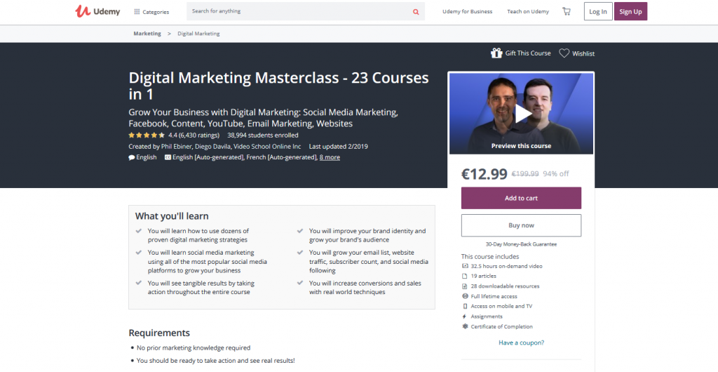 Digital Marketing Master Class – 23 Courses in One