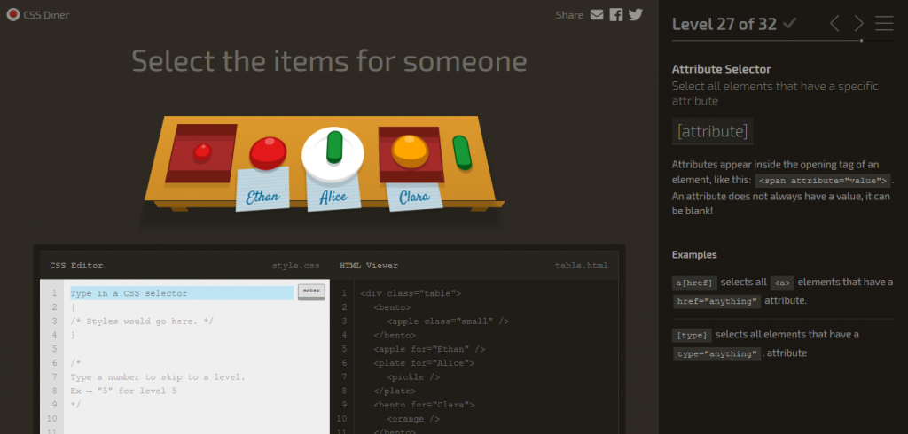 CSS Diner/ Games to Learn HTML and CSS